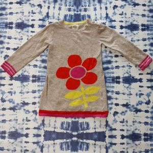Mini Boden Sweater Dress Long Sleeve Flower 2-3
